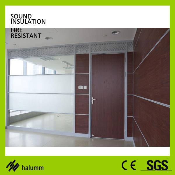 Full height office dividing wall Solid Soundproof glass cubicle walls designer double glass wood par