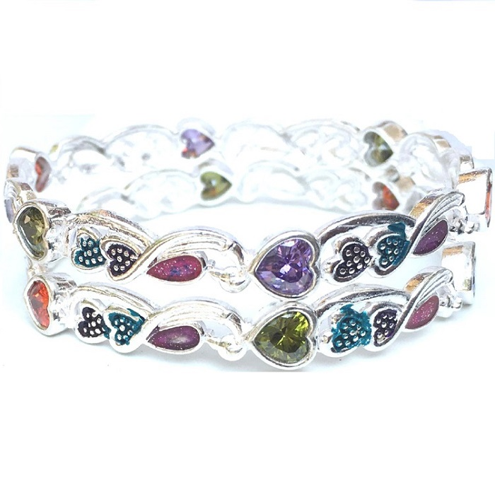gemstone sterling silver bangle
