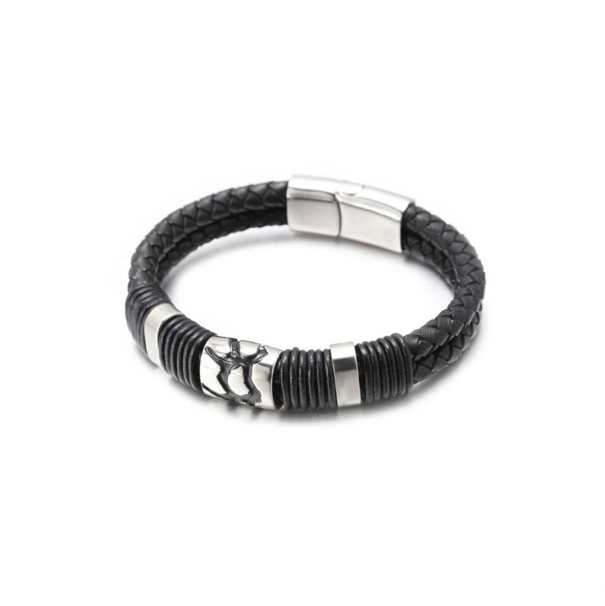 Stainless Steel Men Bracelet with Braided Leather