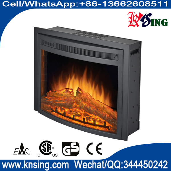 "26"" insert electric fireplace heater curved front log LED flame effect F2625 remote control built-in"