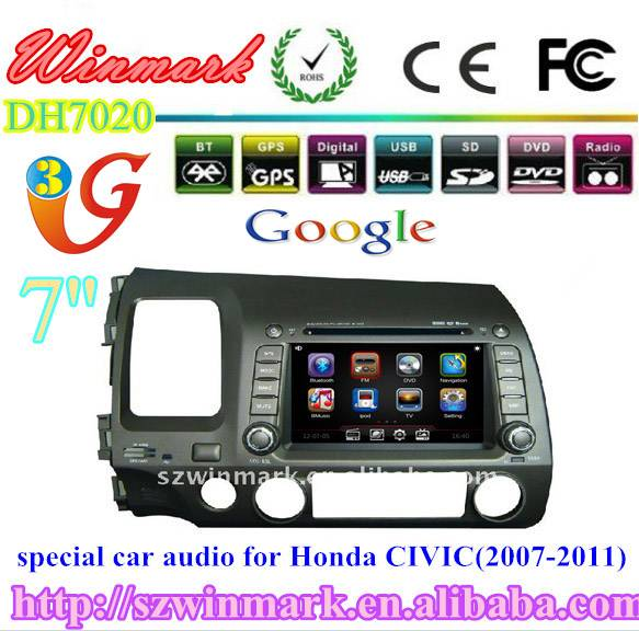 touch screen car dvd player for honda civic left with navigation bluetooth radio tv pip rds 3g funct