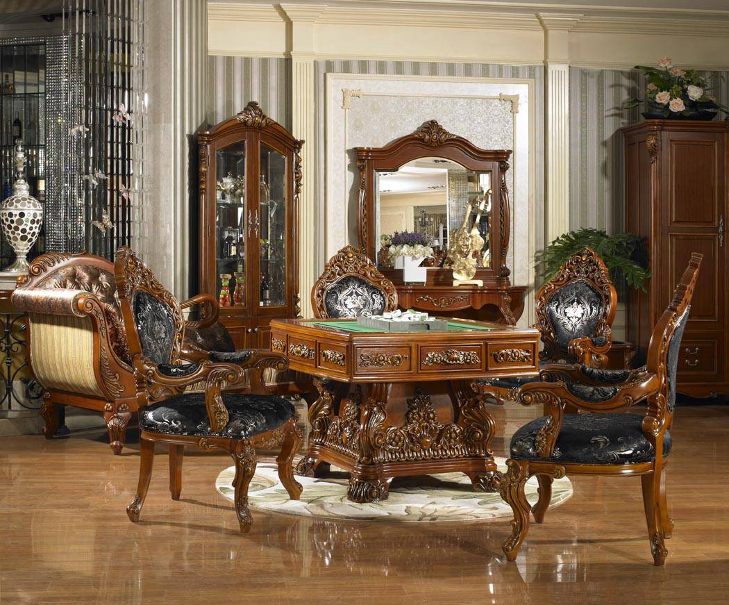 Luxury New Classical Automatic Mahjong Table with Chairs / Game Table Set