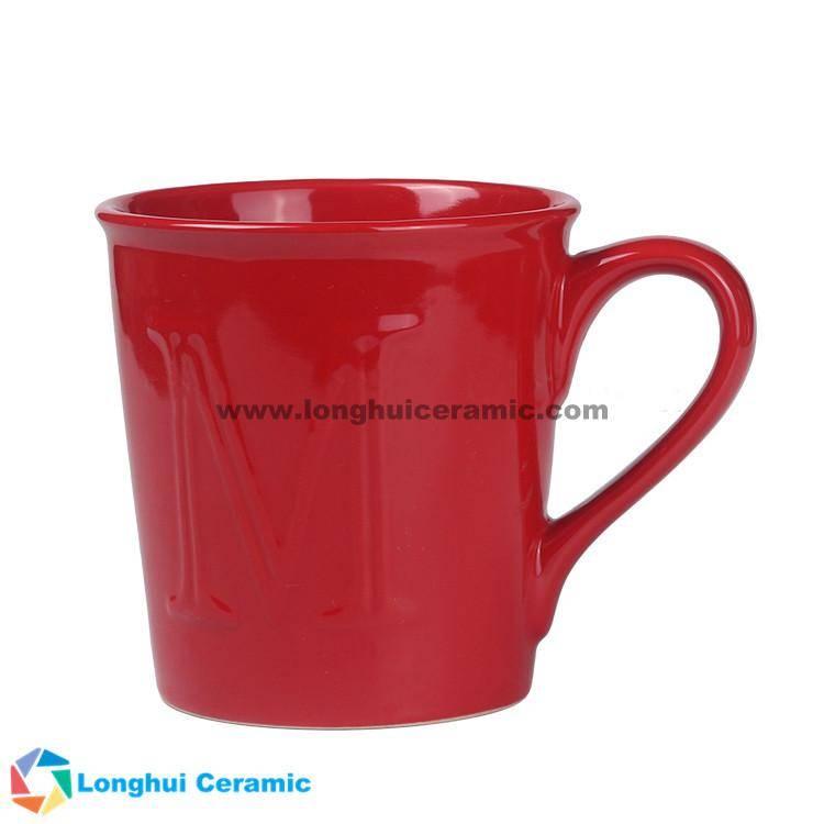 Logo-embossed custom ceramic coffee mug