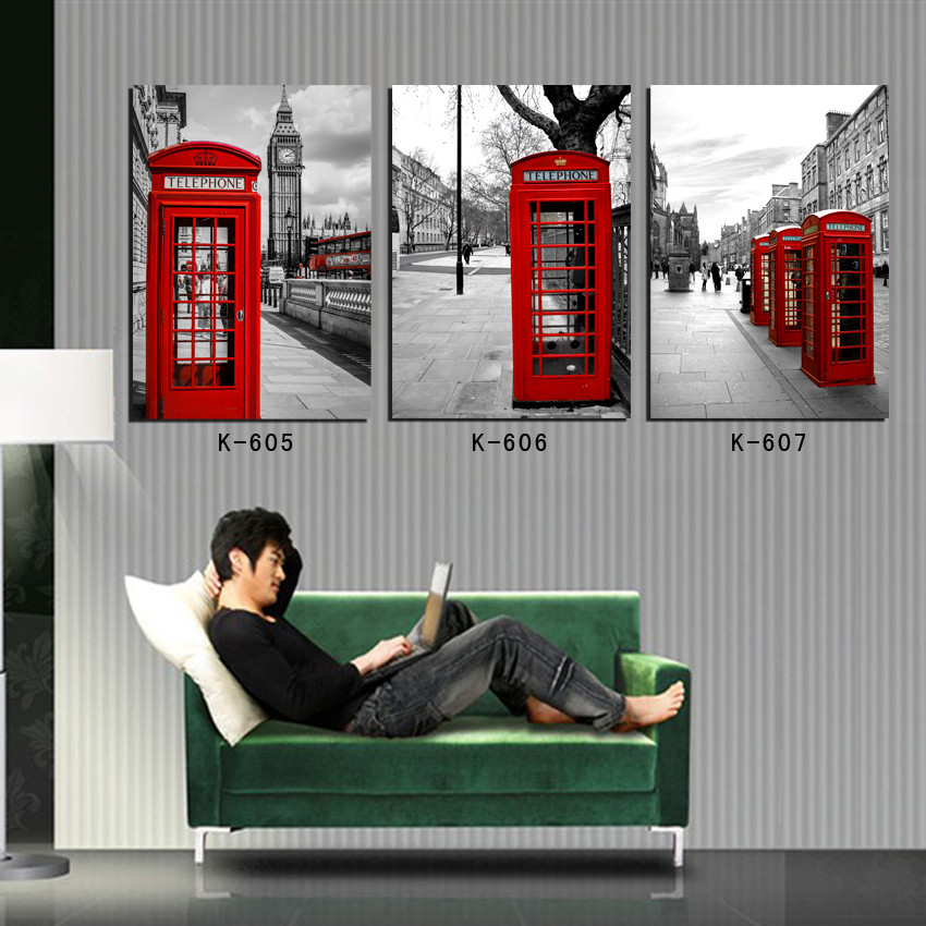 modern landscape oil painting red telephone booth realistic canvas prints for room decor London wall