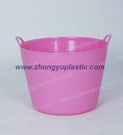 Plastic flexible tub, plastic basket, laundry basket, bucket