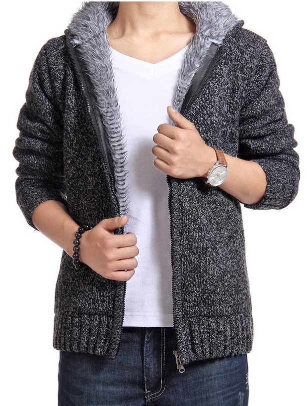 Thickened Hooded Men Sweater Coat