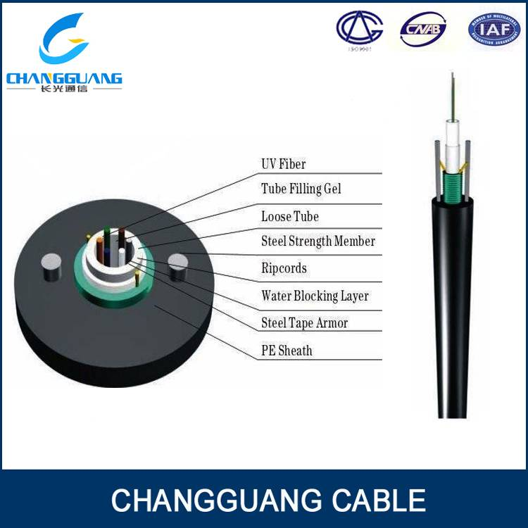GYXTW unitube Light-armored duct aerial fiber optical cable