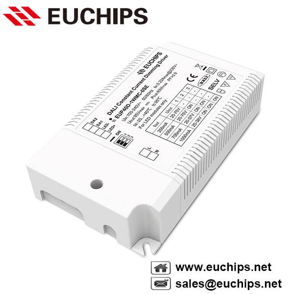 350/500/700/1050mA 1 channel 40W constant current dali dimmable led driver EUP40D-1WMC-0SE