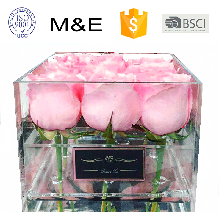 Wholesale custom waterproof clear 9 holes acrylic flower box with lid