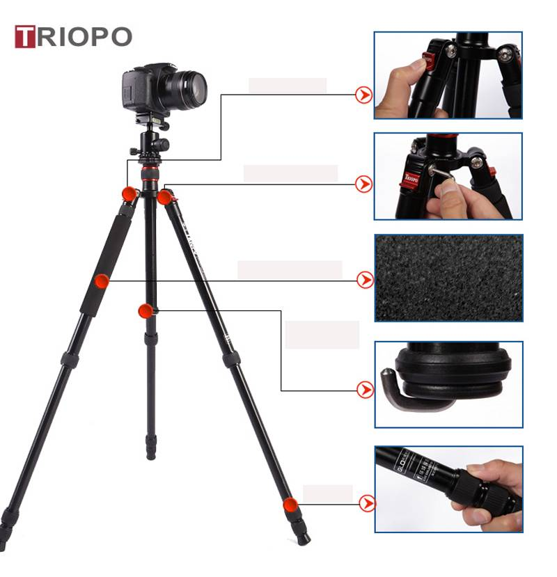 TRIOPO MT-2504X8.C+NB-1S tripod kit ,aluminium alloy tripod and SLR camera  tripod with monopod for