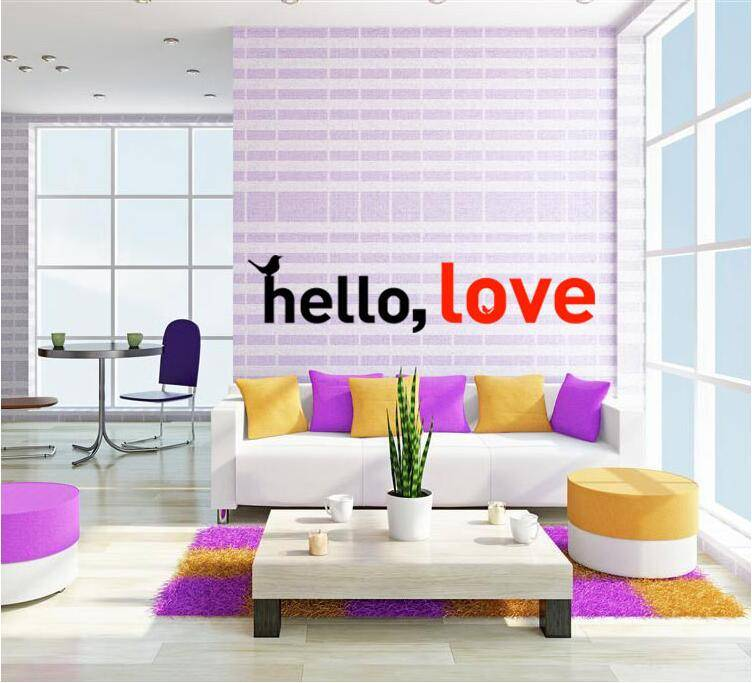 2017 New Art Character Home Decor Wall Stickers Hello Love for Living Room with Factory Price.