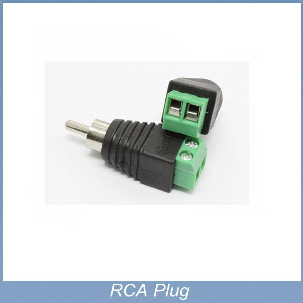green and black color RCA male plug adapter to terminal connector for CCTV,LED