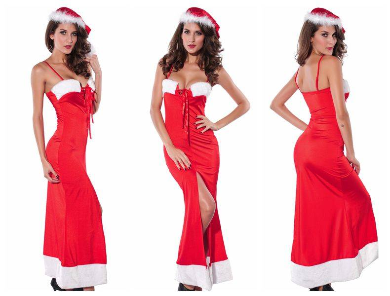 Sexy Santa Christmas Lace Up Long Gown