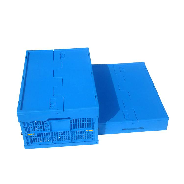 600*400*265mm plastic material mesh type crate for fruits with lid