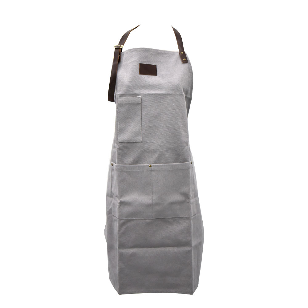 High quality men canvas leather haute couture cargo long apron for woodworking