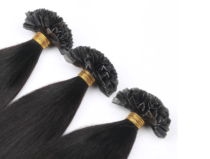 High quality new style super white virgin cuticle aligned hair extension V tips human hair extension