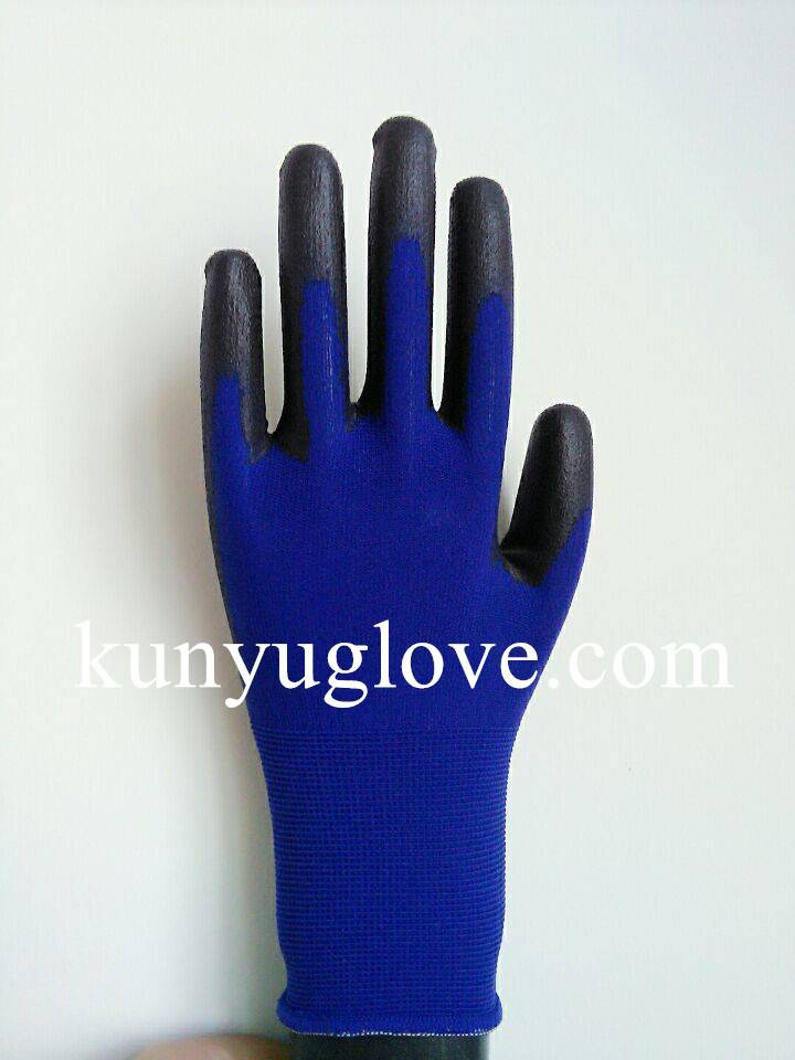 18 Guage blue nylon liner with black pu coating working and safety gloves