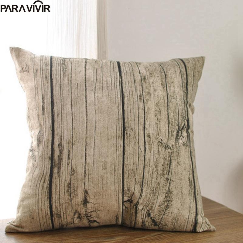 Pillow Case Creative Wooden Grain Cushion Cover Decorative Conjines Fundas Cotton Linen Pillow Cases