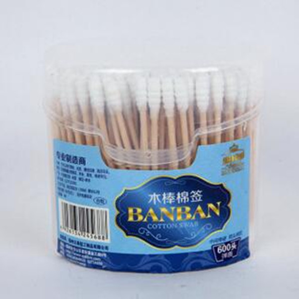 300PCS spring-box wooden stick cotton swab