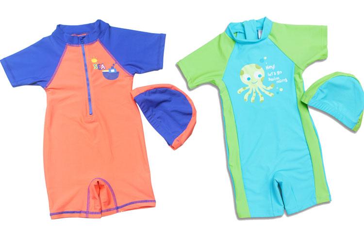 New style 1-12 year old boys / girls one-piece swimsuit children beachwear swimwear with swim cap