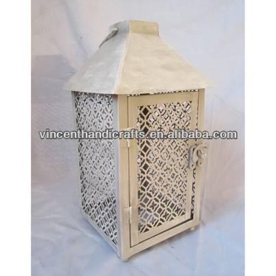 Christmas decor vintage white metal lantern for home and garden