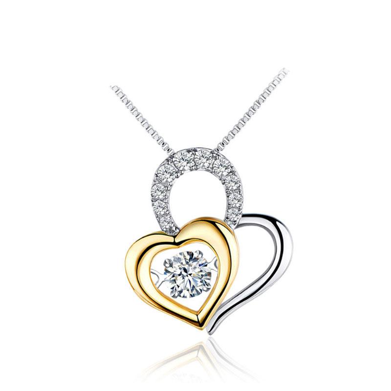 Fashion Two Hearts CZ 925 Sterling Silver Pendant