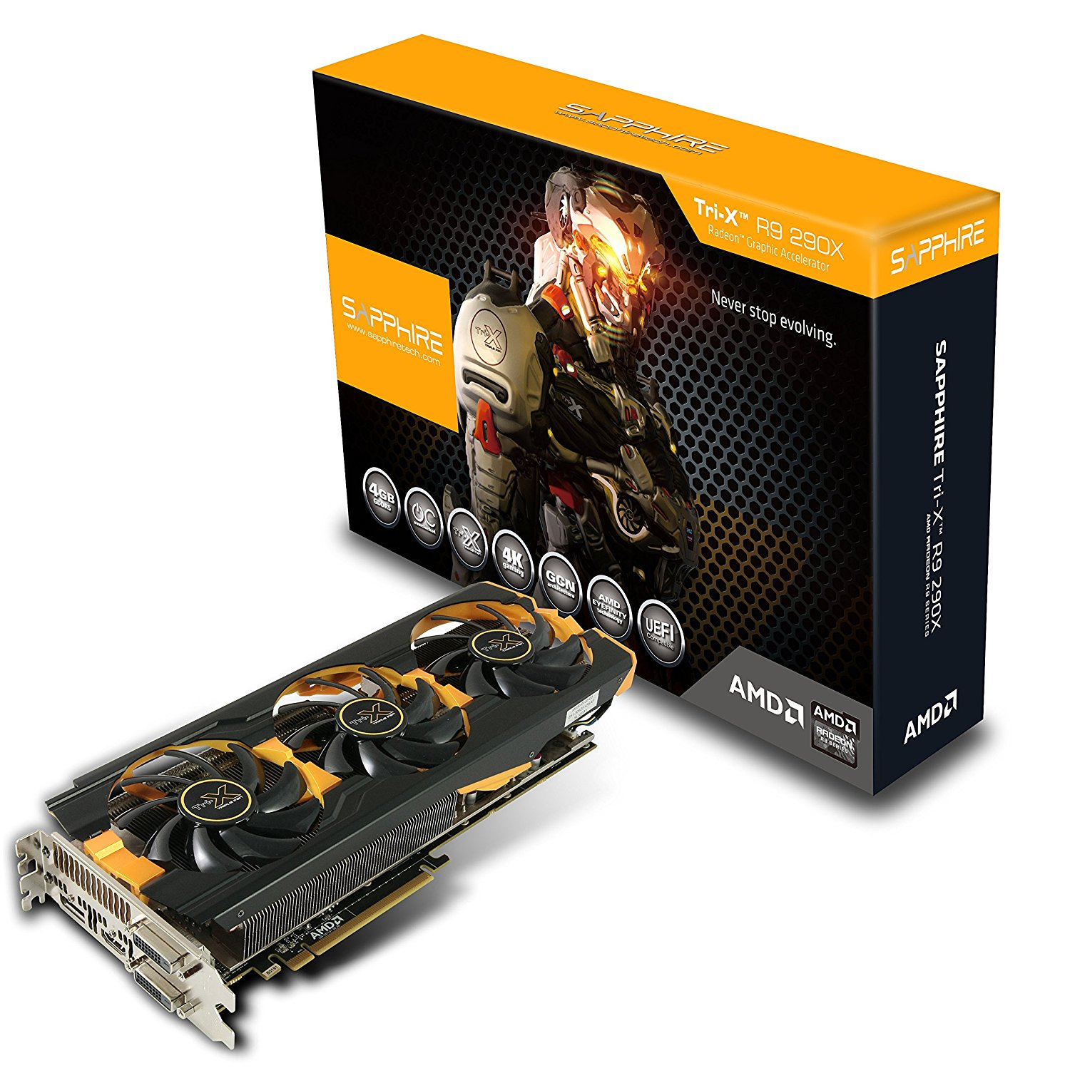 Sapphire Radeon R9 290X 4GB GDDR5 DUAL DVI-D/HDMI/DP TRI-X OC Version PCI-Express Graphics Card