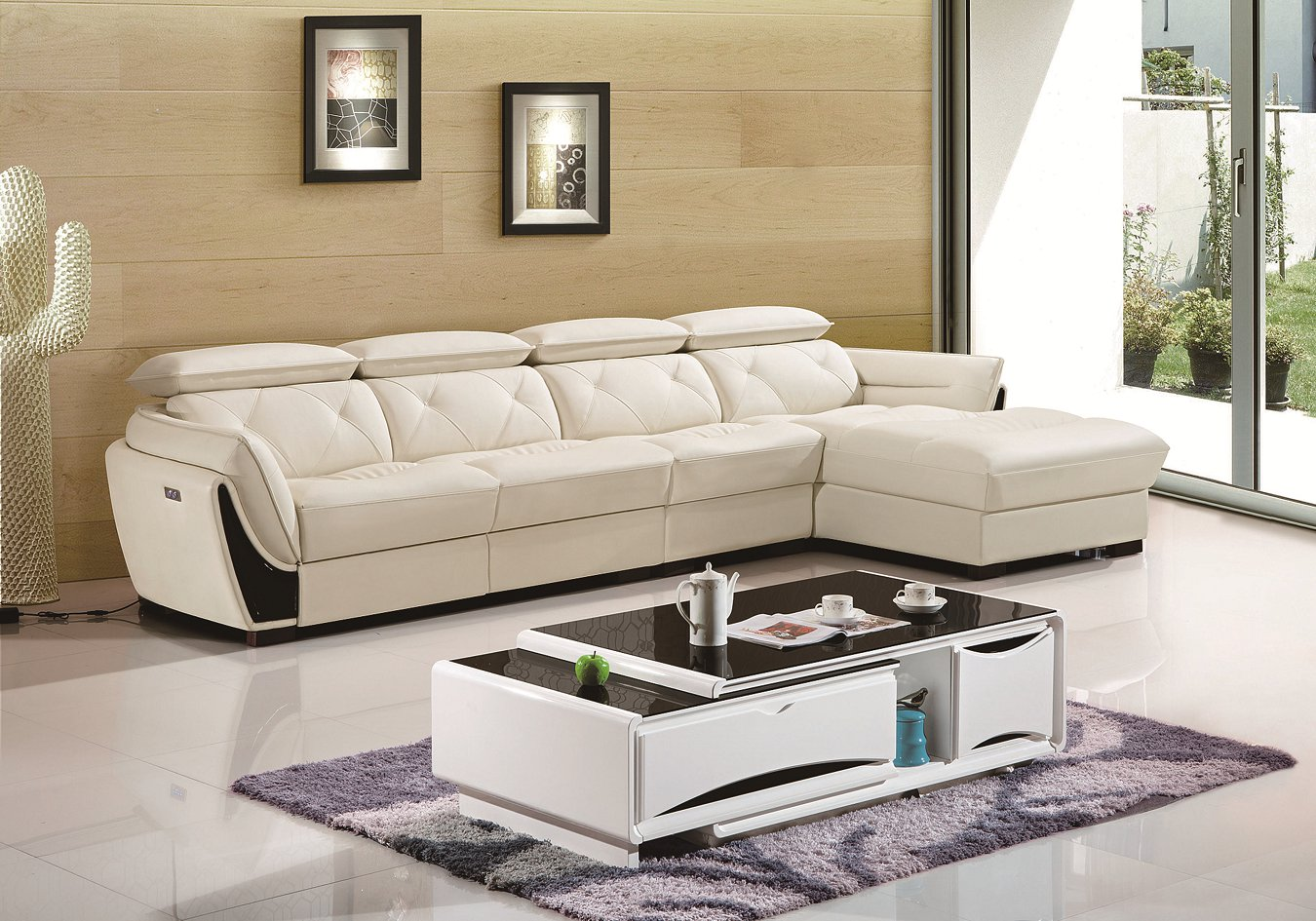 Home Furniture Leather L Shape Sofa with Recliners