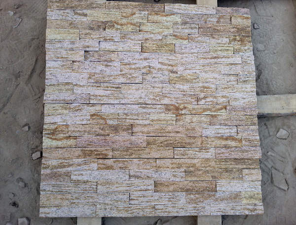 yellow silk culture stone panel for wall cladding decoration