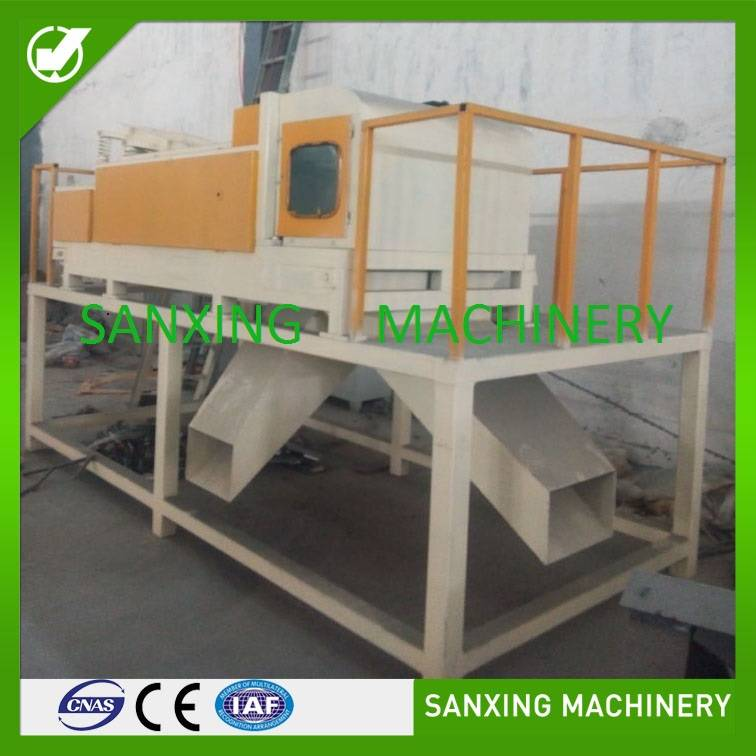 Eddy current separator for separating metal and plastic