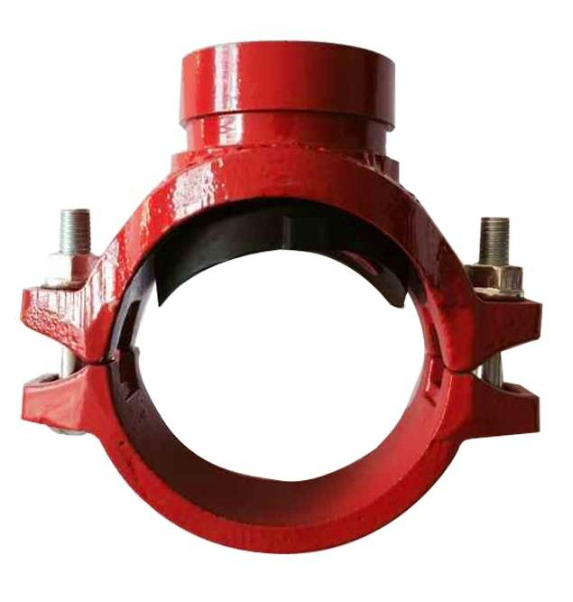 FM UL cUL approved ductile iron grooved pipe fitting mechanical tee