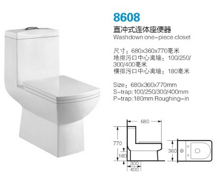 Middle East Newest design raw material good quality washdown one piece white toilet with slow down s