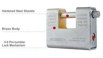 Rectangle Type Armored Brass Padlock