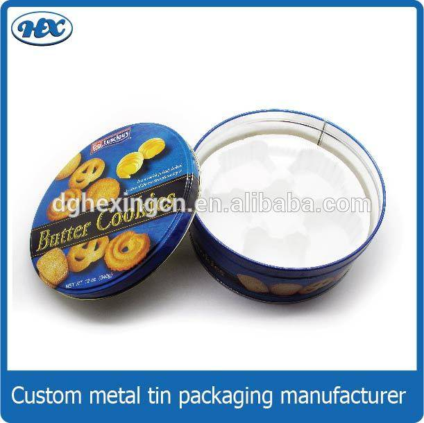 Large round food tin box metal cake food packaging metal box