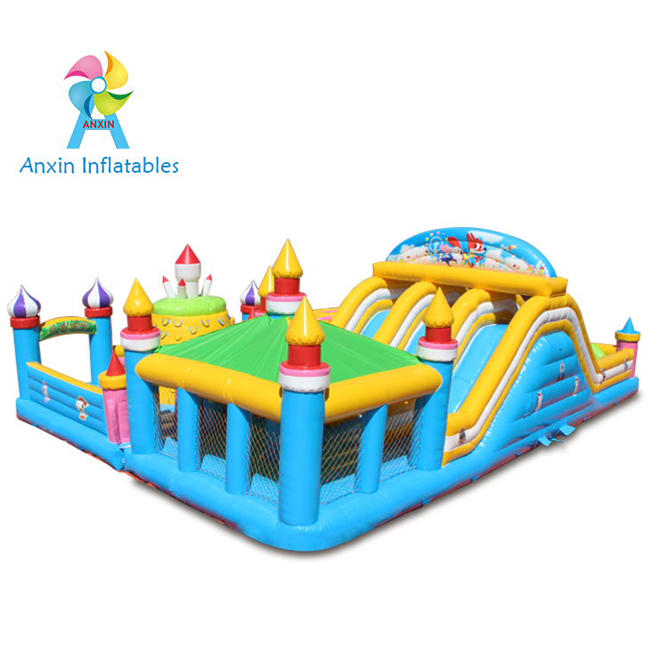 inflatable maze bouncer castle, inflatable bouncer with small slide for kids, inflatable playing hou