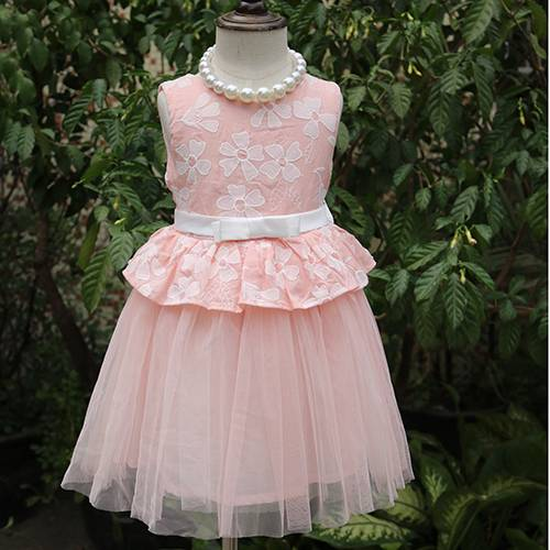 Free sample one piece girls pink party dresses with fashion belt