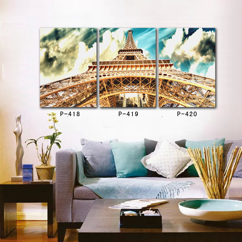 landscape painting canvas eiffel tower wall art on canvas