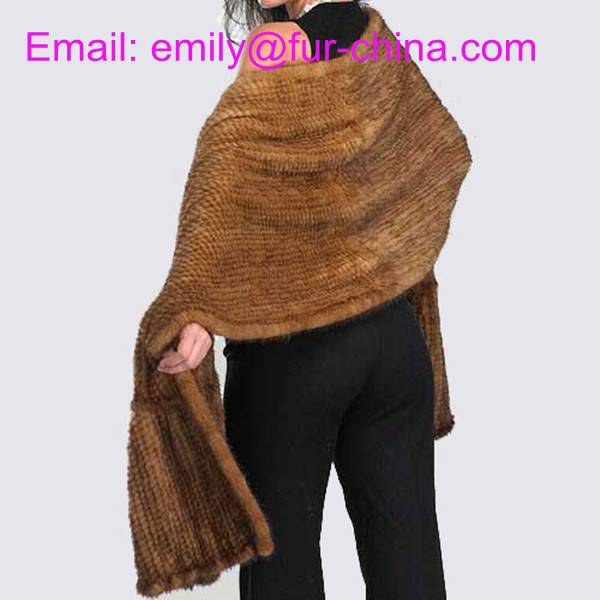 Dark Brown Knitted Mink Fur Shawl