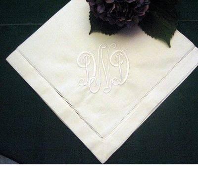 Monogrammed linen wedding table napkin
