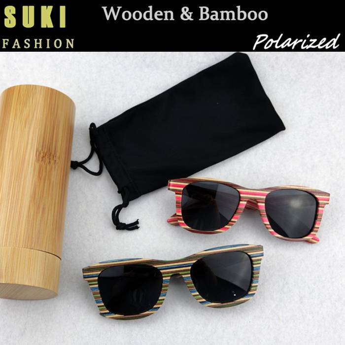 2015 fashion wooden bamboo frame sunglasses for women and men
