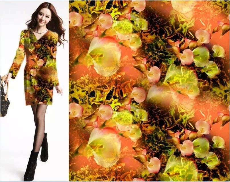 2015 new style digital printing woman dress