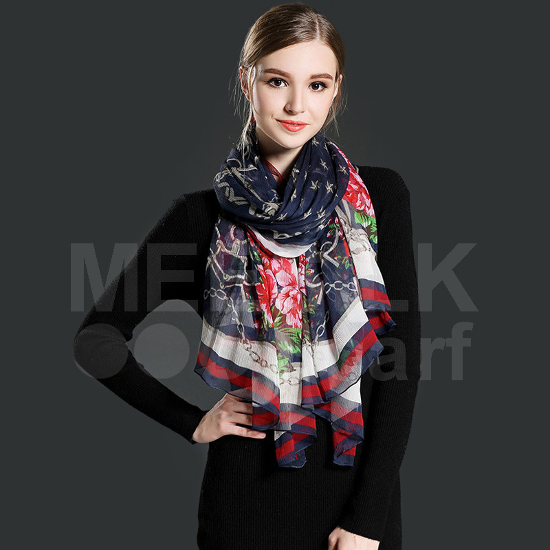Wholesale Women High Quality 100% Silk Long Scarf Printed Scarves