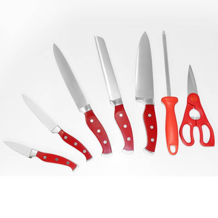 Best selling 7pcs stainless steel kitchen knife set with forged handle