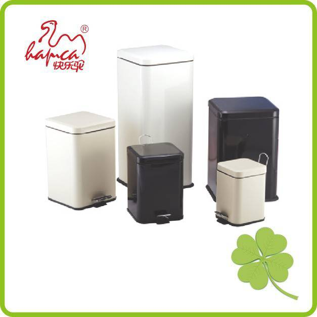 Square sanitary pedal step bin 12L woodprint color