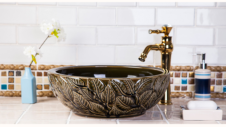 High-end Classical Bathroom Above Counter Top Washstand Without Faucet Bathroom Ceramic Wash Basin