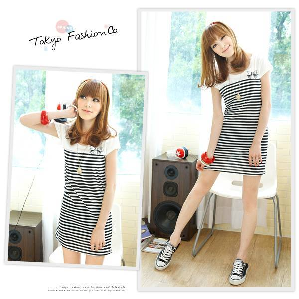 wholesale korean and hongkong fashion striped dress