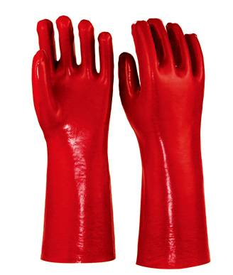 40 cm red smooth finished PVC working safety gloves