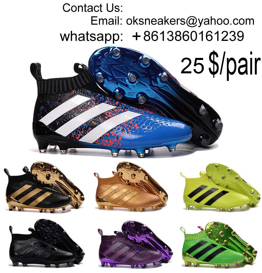 Wholesale Adidas ACE 16+ PureControl Football Shoes High Top Lesslaces Soccer Boots Free Shipping