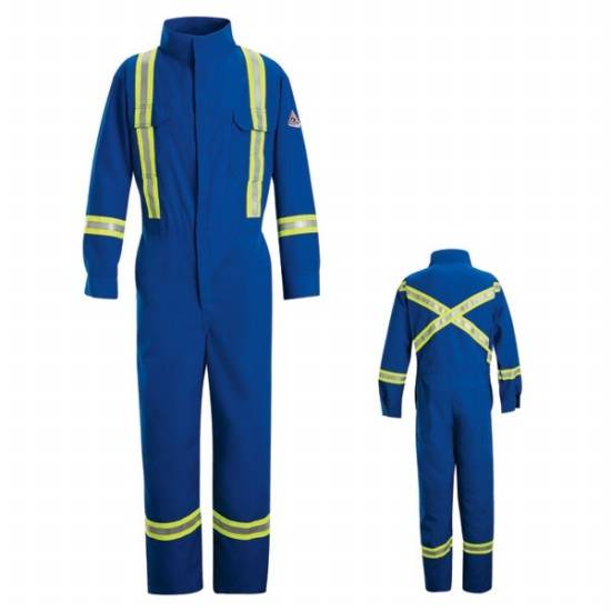 cotton/nylon flame resistant coverall with trim