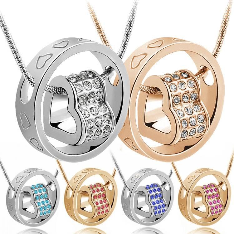 Fashion Women Heart Crystal Pendant Necklace
